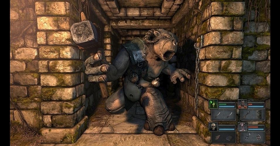 """""""Legend of Grimrock"""" (PC) é um RPG de exploração de calabouços nos moldes antigos, mas com gráficos tridimensionais modernos."""