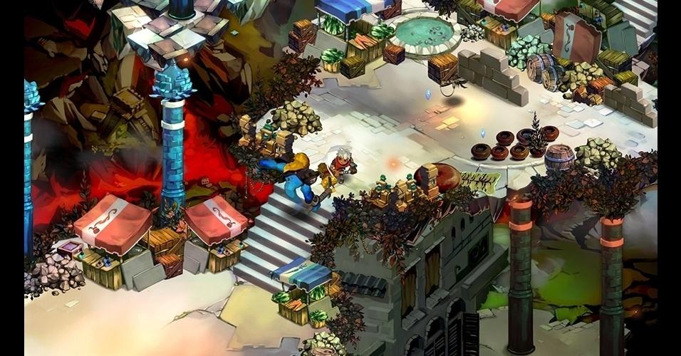 """No RPG de ação """"Bastion"""" (PC/X360/iOS), os jogadores devem explorar um mundo de plataformas flutuantes enquanto uma voz narra seus movimentos."""