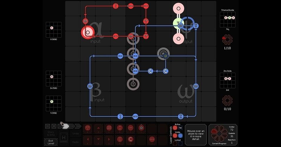 """""""SpaceChem"""" (PC/celulares) é um jogo de estratégia diferente, que une reações químicas e técnicas de programação em seus quebra-cabeças."""