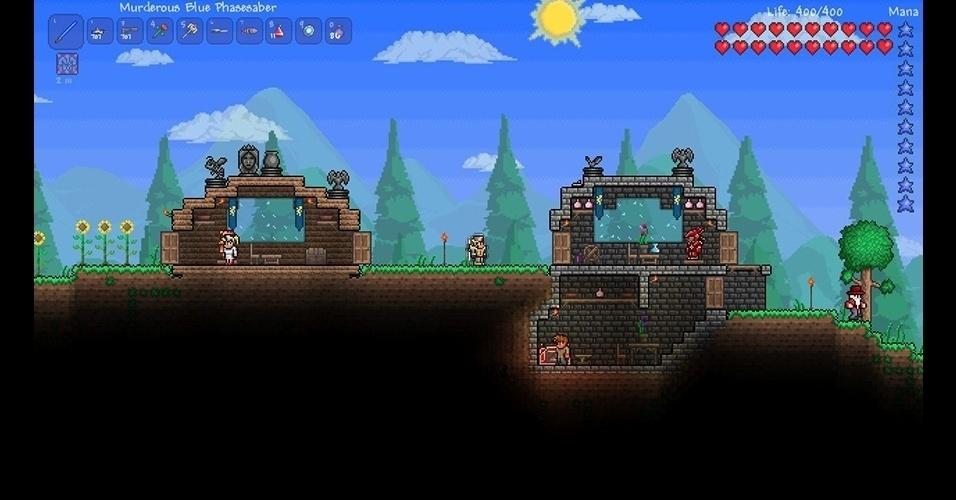 """""""Terraria"""" (PC/PS3/X360) é uma aventura bidimensional que une a ação de um """"Metroid"""" aos elementos básicos de """"Minecraft""""."""