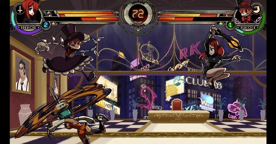 """Times de uma a três guerreiras devem ser utilizados nos intensos combates do game de luta """"Skullgirls"""" (PC/PS3/X360)."""