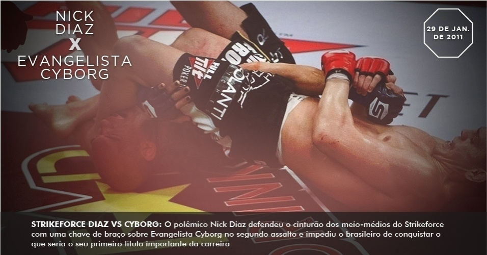 Strikeforce Diaz vs. Cyborg: O polmico Nick Diaz defendeu o cinturo dos meio-mdios do Strikeforce com uma chave de brao sobre Evangelista Cyborg no segundo assalto e impediu o brasileiro de conquistar o que seria o seu primeiro ttulo importante da carreira