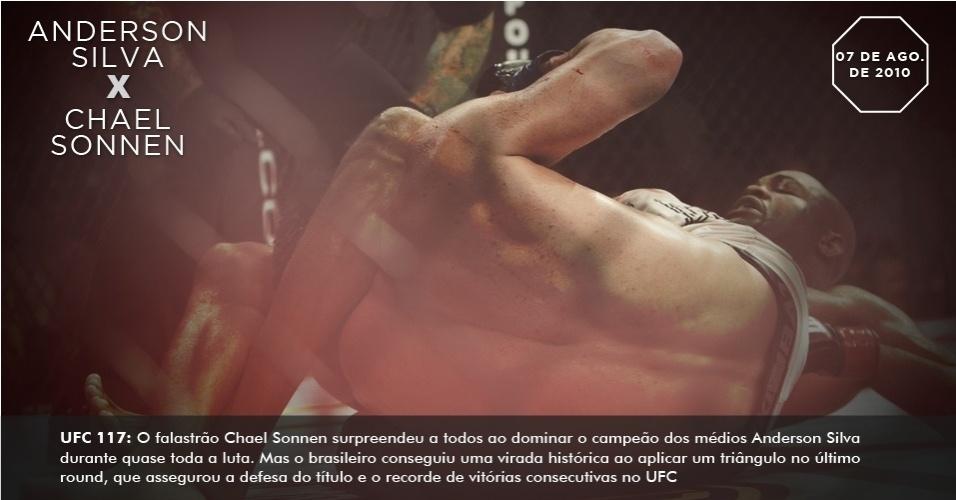 UFC 117: O falastrão Chael Sonnen surpreendeu a todos ao dominar o campeão dos médios Anderson Silva durante quase toda a luta. Mas o brasileiro conseguiu uma virada histórica ao aplicar um triângulo no último round, que assegurou a defesa do título e o recorde de vitórias consecutivas no UFC
