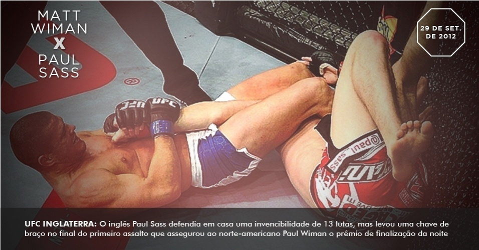 UFC Inglaterra: O ingls Paul Sass defendia em casa uma invencibilidade de 13 lutas, mas levou uma chave de brao no final do primeiro assalto que assegurou ao norte-americano Paul Wiman o prmio de finalizao da noite