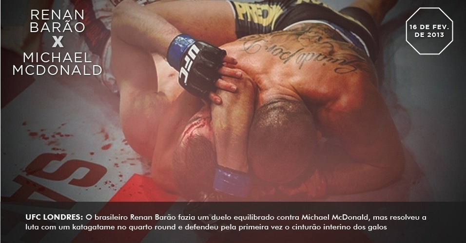 UFC Londres: O brasileiro Renan Baro fazia um duelo equilibrado contra Michael McDonald, mas resolveu a luta com um katagatame no quarto round e defendeu pela primeira vez o cinturo interino dos galos