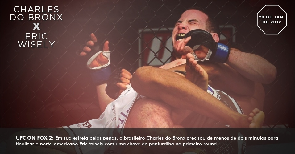 UFC on FOX 2: Em sua estreia pelos penas, o brasileiro Charles do Bronx precisou de menos de dois minutos para finalizar o norte-americano Eric Wisely com uma chave de panturrilha no primeiro round