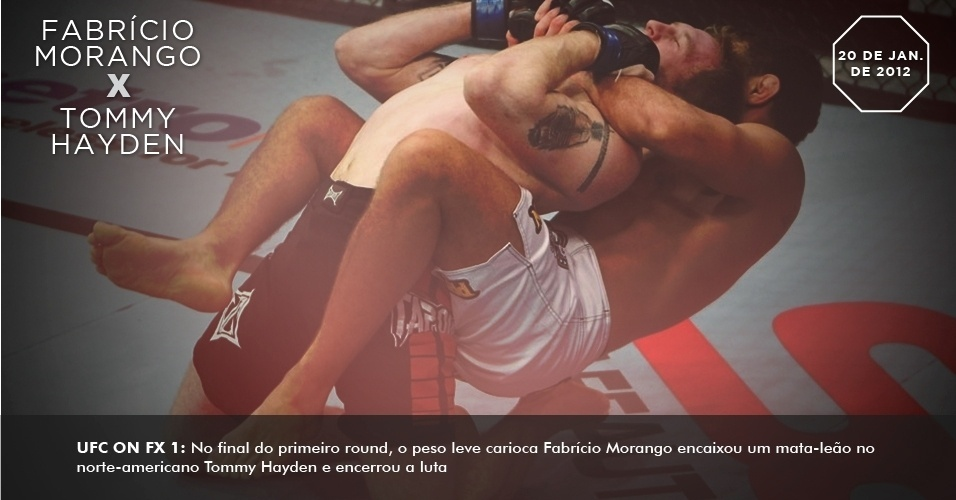 UFC on FX 1: No final do primeiro round, o peso leve carioca Fabrcio Morango encaixou um mata-leo no norte-americano Tommy Hayden e encerrou a luta