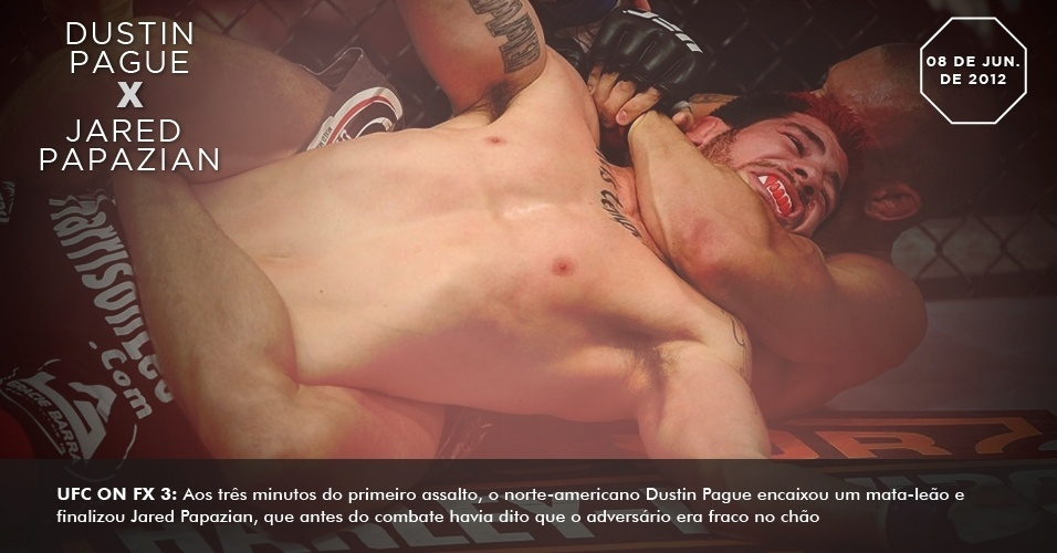 UFC on FX 3: Aos trs minutos do primeiro assalto, o norte-americano Dustin Pague encaixou um mata-leo e finalizou Jared Papazian, que antes do combate havia dito que o adversrio era fraco no cho