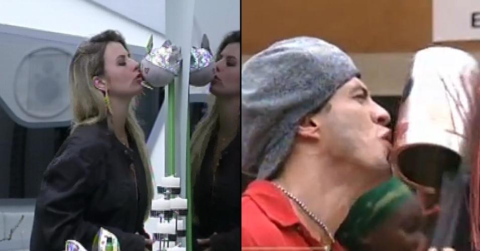 19.mar.2013 - Assim como Fernanda beijou o boneco-príncipe André, Bambam também mostrou todo seu carinho pela boneca Maria Eugênia na primeira edição do BBB13