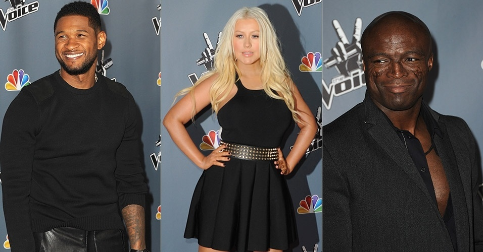 20.mar.2013 - Usher, Christina Aguilera e Seal comparecem à festa de estreia da quarta temporada do reality show The Voice nos Estados Unidos