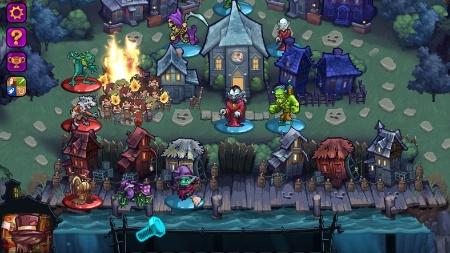 """Monstros disputam partidas estratégicas para dominar cidadezinha em """"Haunted Hollow""""."""