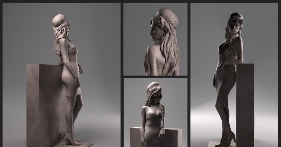 22.mar.2013 - Imagens da estátua de Amy Winehouse feita pelo artista Scott Eaton
