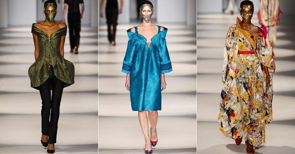 Modelos apresentam looks de Lino Villaventura para o Verão 2014 no SPFW (22/03/2013)