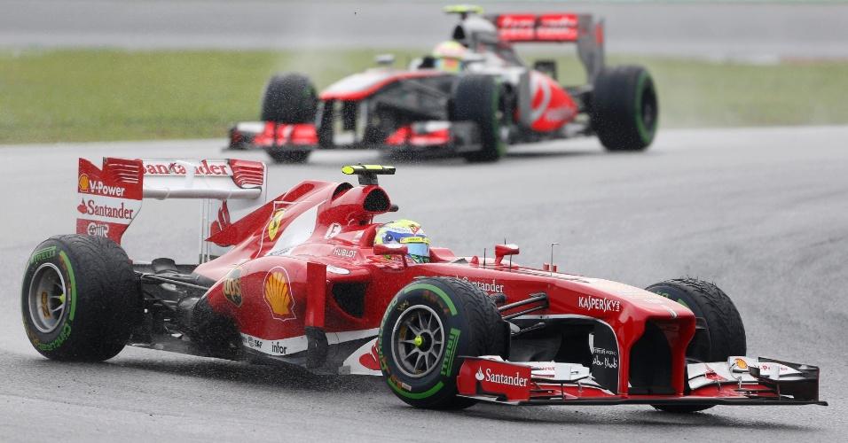 24.mar.2013 - Felipe Massa largou em segundo no GP da Malásia, mas perdeu posições e fez uma corrida discreta