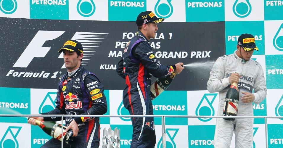 24.mar.2013 - Pilotos da Red Bull mal se olharam no pódio do GP da Malásia