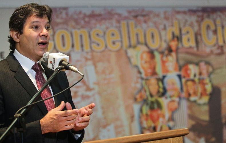 26.mar.2013 - Prefeito de São Paulo, Fernando Haddad (PT), apresenta o plano de metas e o Conselho da Cidade, durante cerimônia no Auditório da Prefeitura, no centro de São Paulo