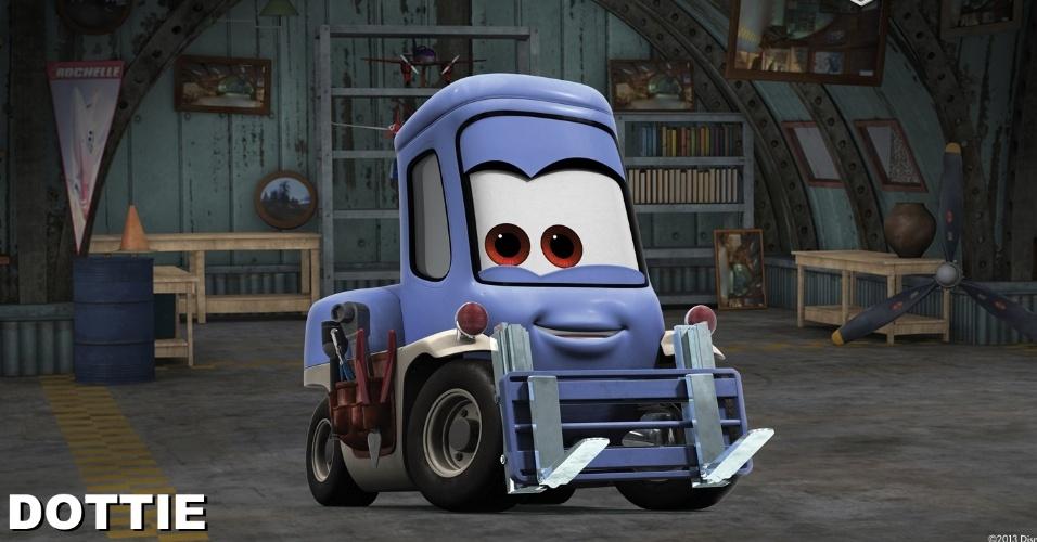 """Dottie (voz de Teri Hatcher) é uma empilhadeira que é coproprietária e trabalha no posto Fill 'n Fly. Como a prática e sincera amiga de Dusty, Dottie espera manter as esperanças nas alturas de Dusty no campo da realidade. Derivado de """"Carros"""", """"Aviões"""" da Disney deve estrear no Brasil no dia 13 de setembro em cópias 3D. O filme, porém, não tem a participação da Pixar."""