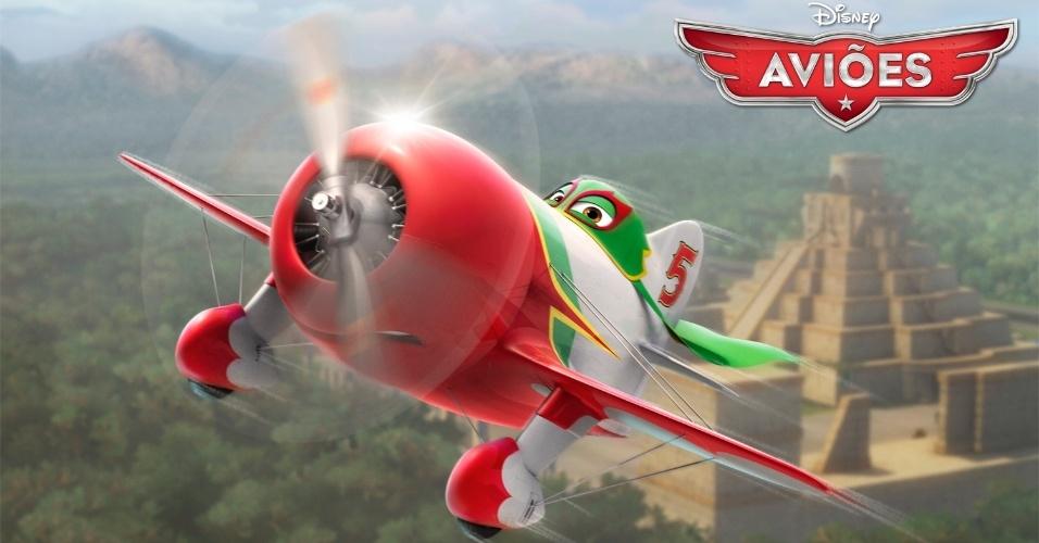 """El Chupacabra (voz de Carlos Alazraqui) é uma lenda no México. Alimentado por sua paixão por corridas, este Casanova de capa é qualquer coisa menos discreto. Derivado de """"Carros"""", """"Aviões"""" da Disney deve estrear no Brasil no dia 13 de setembro em cópias 3D. O filme, porém, não tem a participação da Pixar."""