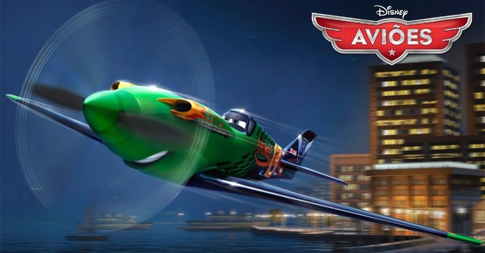 """Ripslinger (voz de Roger Craig Smith) é o maior nome das corridas aéreas e joga sujo, especialmente quando se trata de um avião do interior com zero de experiência em corridas, como Dusty. Derivado de """"Carros"""", """"Aviões"""" da Disney deve estrear no Brasil no dia 13 de setembro em cópias 3D. O filme, porém, não tem a participação da Pixar."""