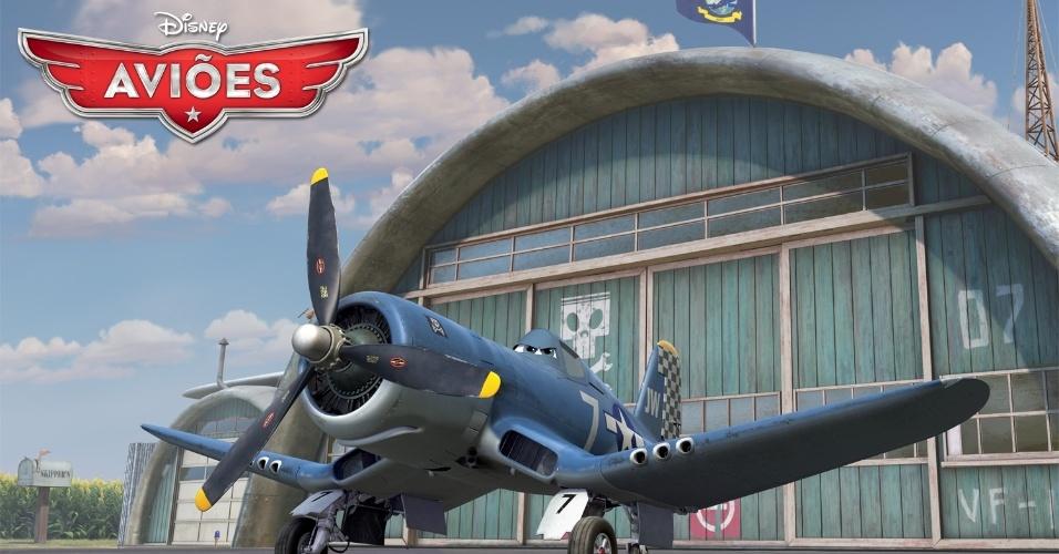 """Skipper Riley (voz de Stacy Keach) é um antigo Corsair da marinha, um ás dos céus e importante instrutor da estimada Esquadrilha da Fuzarca até que um incidente durante uma missão de combate tirou-o das linhas de frente. Derivado de """"Carros"""", """"Aviões"""" da Disney deve estrear no Brasil no dia 13 de setembro em cópias 3D. O filme, porém, não tem a participação da Pixar."""
