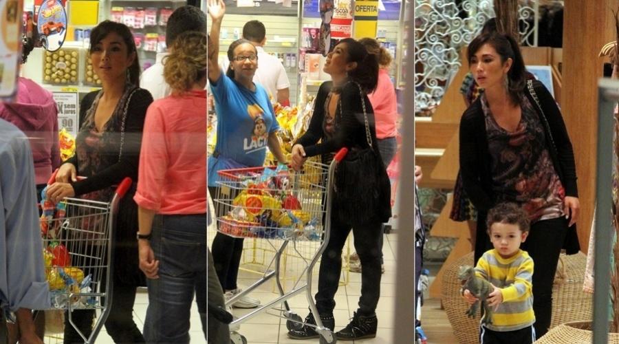 26.mar.2013 - Daniele Suzuki passeou com o filho Kauai em um shopping da zona oeste do Rio. A atriz aproveitou para comprar ovos de Páscoa