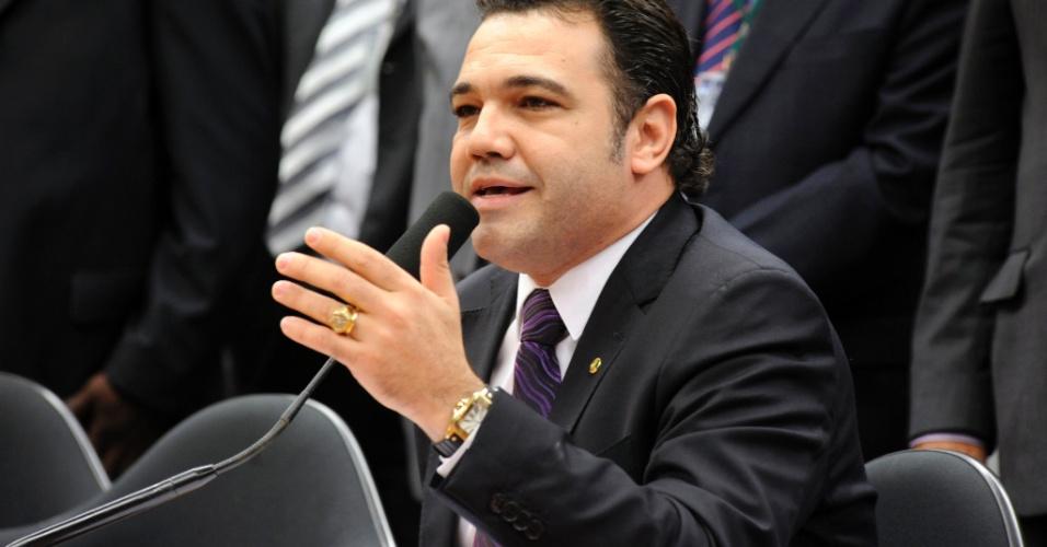 27.mar.2013 - Deputado e pastor Marco Feliciano (PSC), presidente da Comissão de Direitos Humanos da Câmara, fala durante audiência pública