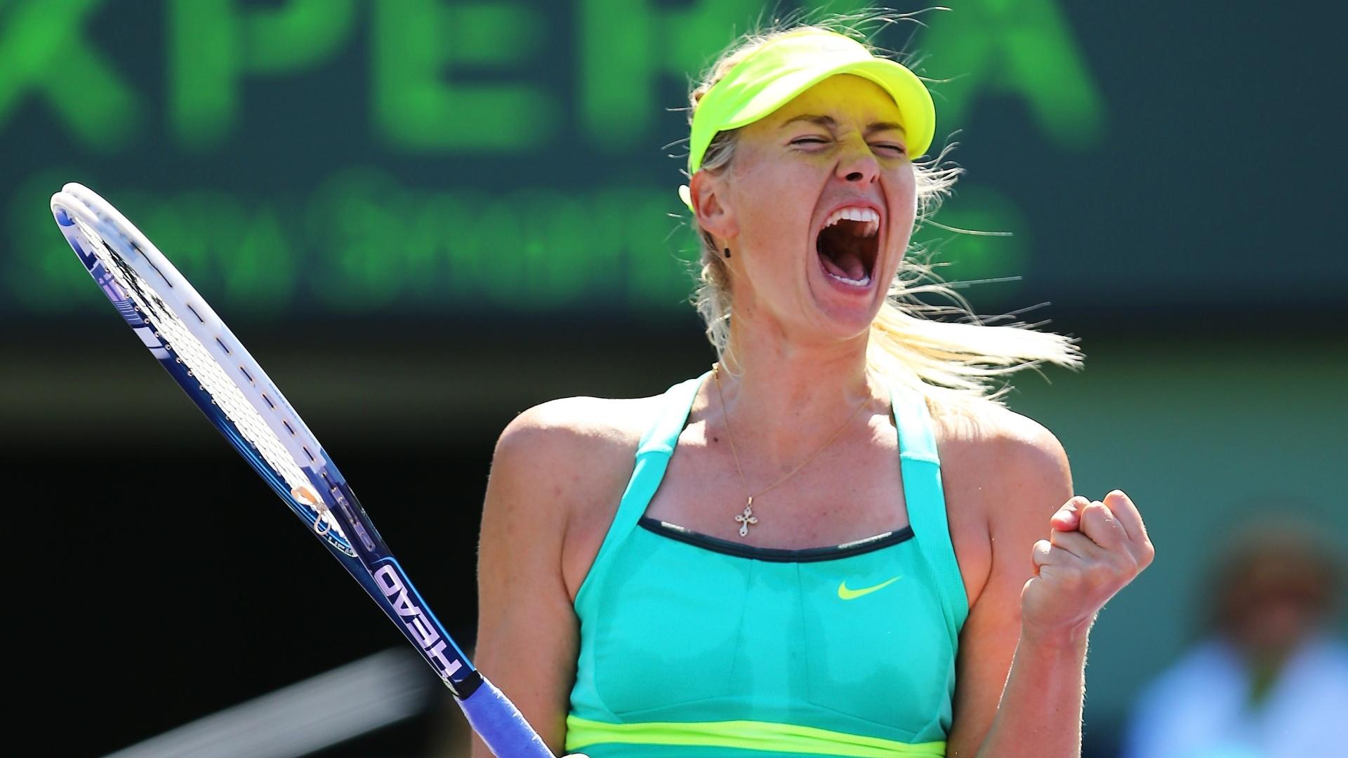 27.mar.2013 - Maria Sharapova comemora a vitória sobre Sara Errani nas quartas de final do Torneio de Miami, nos Estados Unidos