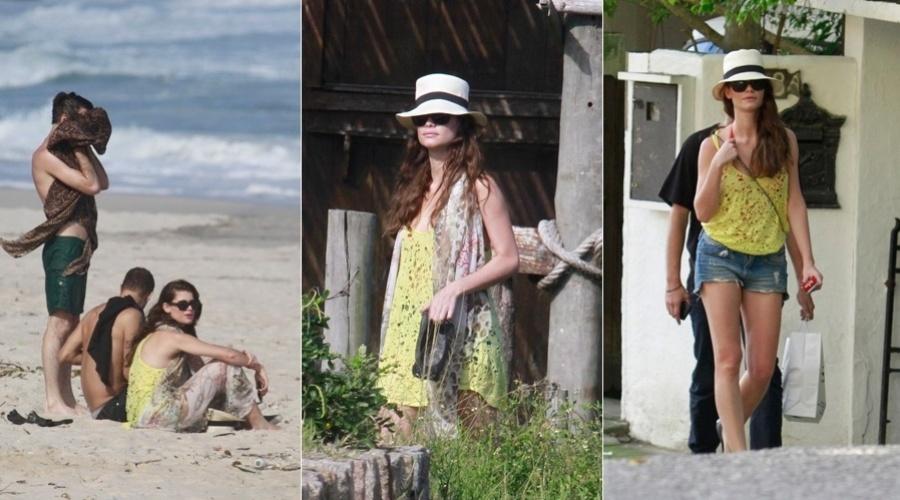 28.mar.2013 - Alinne Moraes curtiu praia em Grumari, zona oeste do Rio, acompanhada de amigos