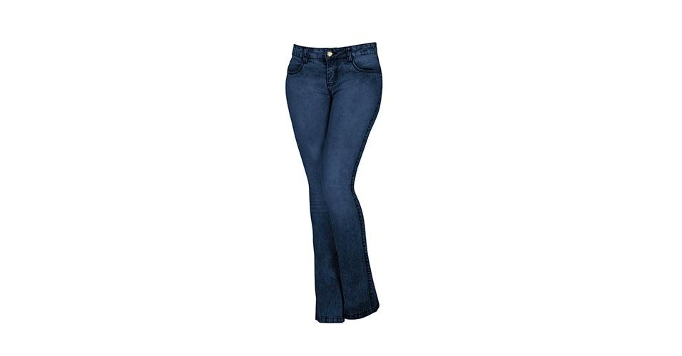 Calça jeans com boca aberta; R$ 150,90, na Lunender (www.lunender.com.br). Preço pesquisado em março de 2013 e sujeito a alterações
