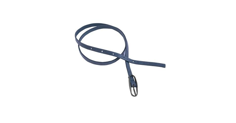 Cinto fino azul; R$ 24,90, na Malwee (www.malwee.com.br). Preço pesquisado em março de 2013 e sujeito a alterações