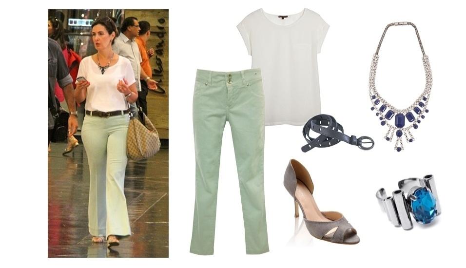 Nos momentos casuais, Fátima Bernardes é sempre vista com calça e blusa para dentro da calça. O look básico com camiseta branca deu destaque aos acessórios