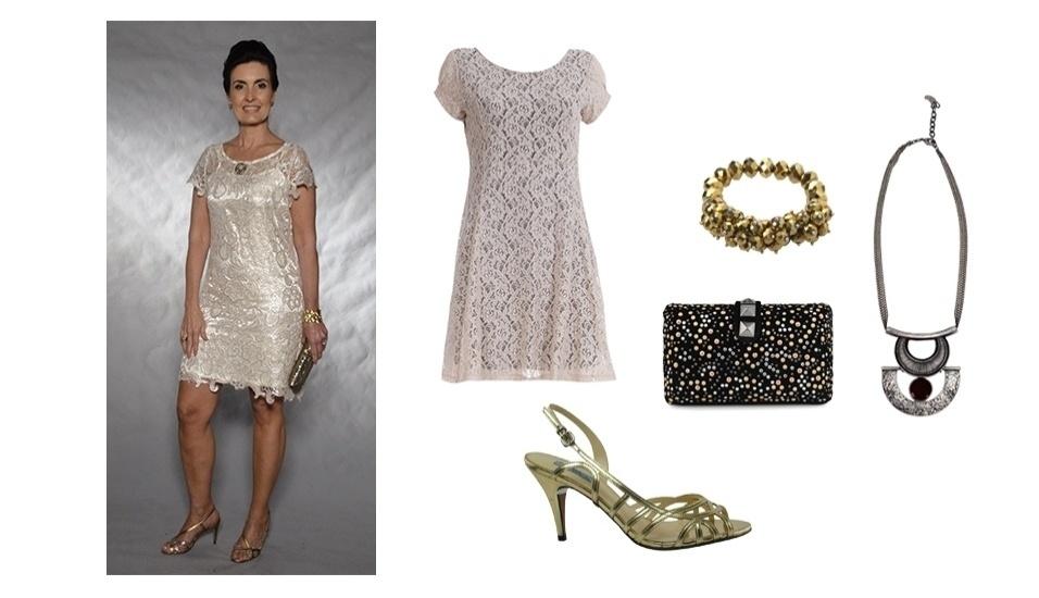 Para ocasiões mais formais, vale se inspirar no estilo de Fátima Bernardes e apostar em um vestido com renda e nos acessórios que misturam prata e dourado