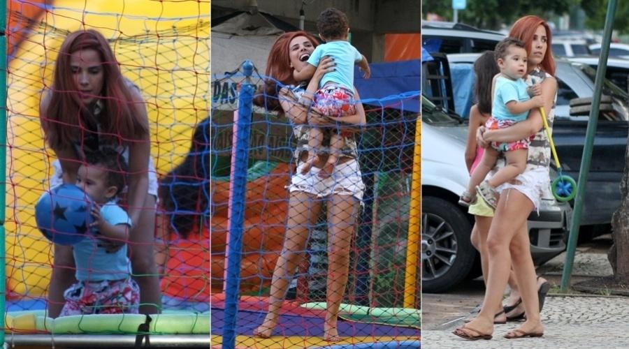 29.mar.2013 - Wanessa brincou o filho, José Marcus, em um parquinho na Lagoa Rodrigo de Freitas, zona sul do Rio