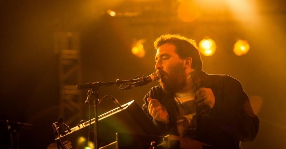 31.mar.2013 - Grupo Hot Chip se apresenta no palco alternativo no terceiro e último dia do Lollapalooza Brasil 2013