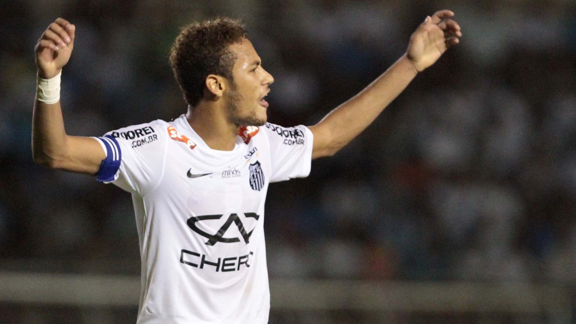 31.mar.2013 - Neymar em ao na partida entre Santos e Oeste pelo Campeonato Paulista