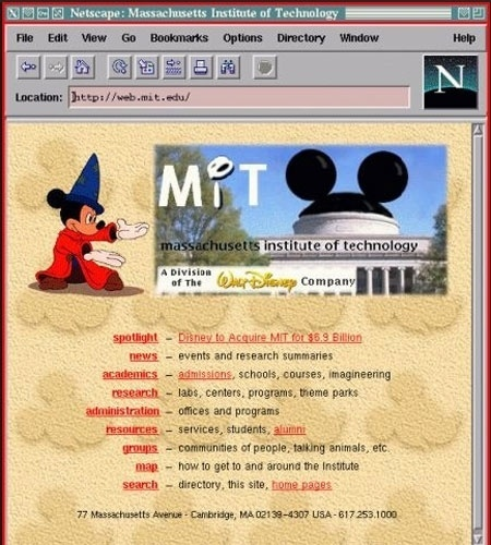 1998 - Hackers modificaram a página inicial do MIT (Massachusetts Institute of Technology) com uma nota informando que a Walt Disney Corp. havia comprado o instituto por quase US$ 7 bilhões. O comunicado ainda dizia que o campus iria mudar para Orlando (sede da Disney)