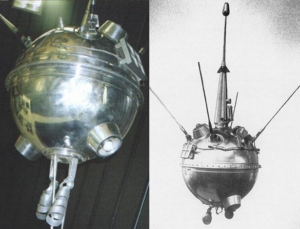 2.abr.2013 - A missão Luna (ou Lunik), da então União Soviética, foi a primeira a estudar a Lua com uma série de equipamentos científicos. O foguete esférico Luna 1 (à direita) passou a 5.995 quilômetros de distância da superfície do satélite em 4 de janeiro de 1.959, 34 horas depois de ser lançado da Terra. Mesmo não sendo bons de mira, os cientistas constataram, pela primeira vez, que a Lua não tem campo magnético como a Terra e que os ventos solares atravessam o espaço espalhando partículas eletricamente carregadas. O programa espacial só conseguiu acertar a pontaria meses mais tarde, quando a Luna 2 (à esquerda) atingiu a superfície da Lua em 13 de setembro. A cápsula tinha antenas, três flâmulas soviéticas e alguns instrumentos, como detectores de micrometeoritos e magnetômetro, que pararam de funcionar por conta da força do impacto na região de Palus Putredinus