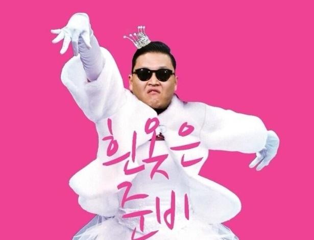 Psy aparece usando vestido de noiva; a cor branca teria ligação com novo single e show