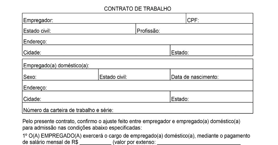 Modelo de contrato de trablho para domésticas