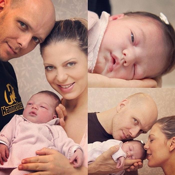 4.abr.2013 - Sheila Mello e Fernando Scherer postam as primeiras imagens de sua filha Brenda na rede social Instagram.