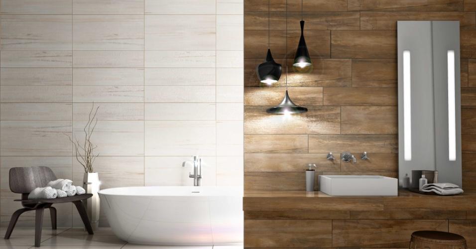 Nas paredes do banheiro, os revestimentos se contrapõem: para área de lavabo, foi usado a linha Vecchia ipê; e no espaço para banho, o acabamento com referência ao mármore (Marmo bianco). Os produtos são de duas coleções da Villagres (Naturale e Marmo)