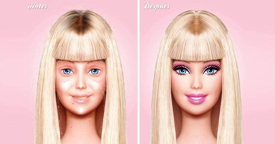 O designer mexicano Eddi Aguirre alterou a imagem original da Barbie, deixando ela sem maquiagem e nenhuma produção. A imagem foi criada para uma peça publicitária. Aguirre também adicionou aparelho nos dentes e bagunçou o cabelo da boneca