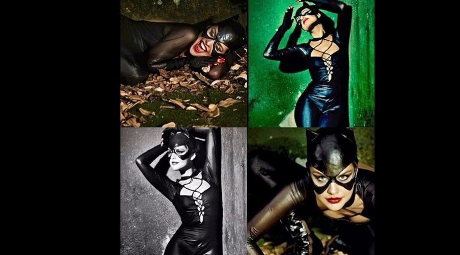 3.abr.2013 - Paloma Bernardi fez um ensaio vestida de Mulher-Gato e divulgou as imagens por uma rede social. A atriz está no ar em
