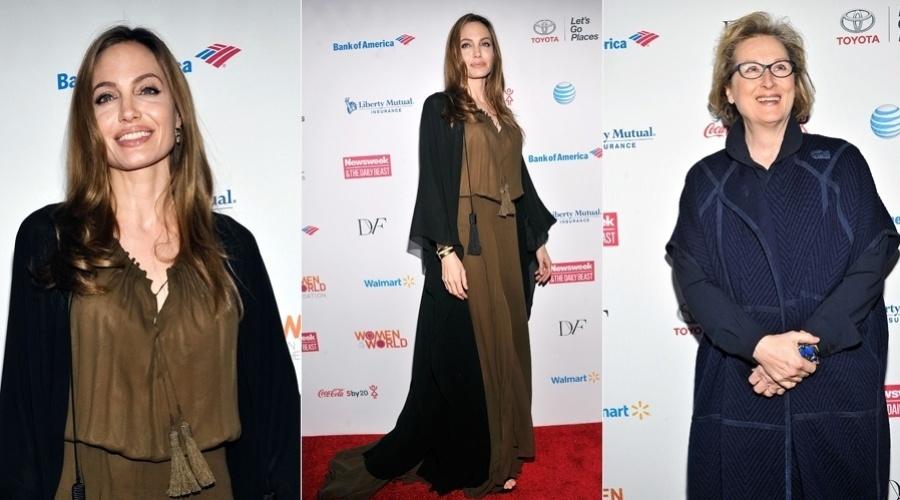 5.abr.2013 - Angelina Jolie e Meryl Streep prestigiaram o