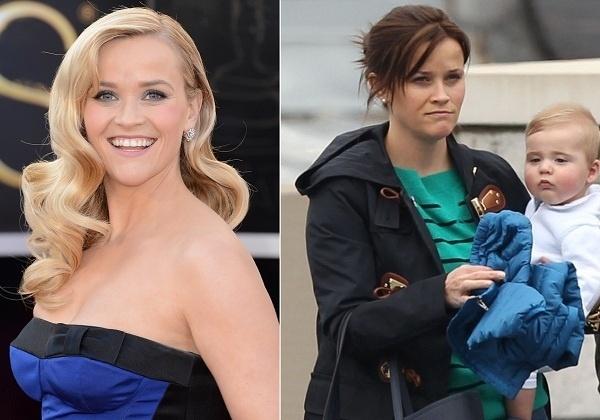 Abril: A atriz Reese Whiterspoon radicalizou e surgiu com os cabelos morenos durante passeio com o filho Tennessee pelas ruas de Nashville.
