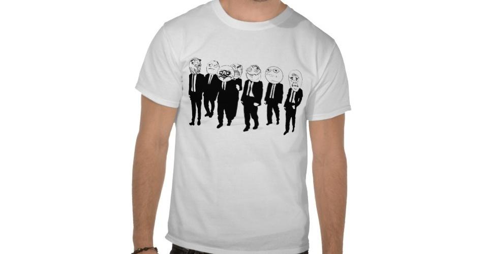 Essa camiseta reúne vários memes famosos, como o Okay, LOL, Me Gusta. O Forever Alone está nas costas da peça. Do Zazzle, R$ 43,30