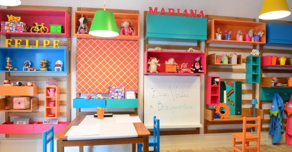 O quarto brinquedoteca foi o projeto concebido por Carmen Mansor, Fernando Azevedo e Tiza Kann, da Mak Interiores, para a Mostra Q&E