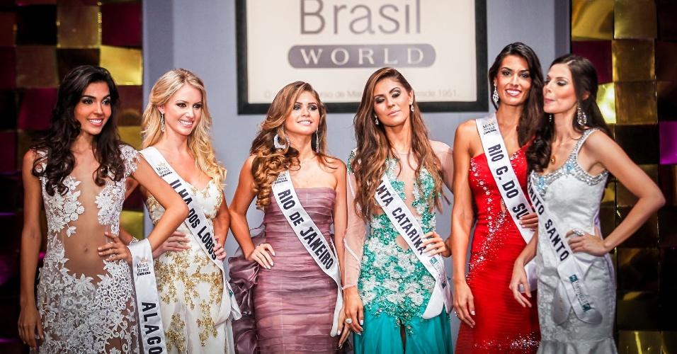 6.abr.2013 - As seis finalistas são as misses Ilha dos lobos, Santa Catarina, Rio Grande do Sul, Alagoas, Espírito Santo e Rio de Janeiro
