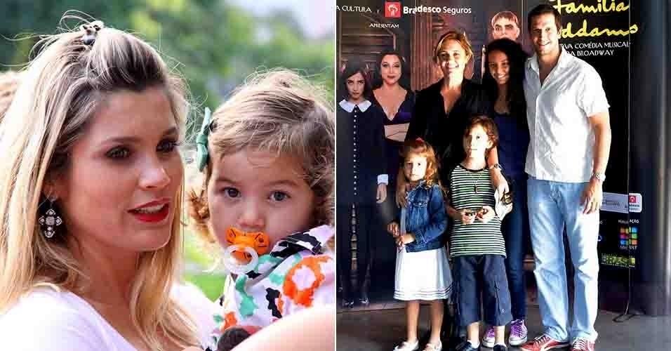 7.abr.2013 - As atrizes Flávia Alessandra (à esq) e Adriana Esteves (à dir) levam a família para assistir o musical