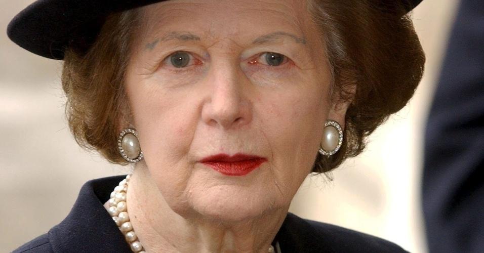 19.abr.2002 - Margaret Thatcher comparece ao funeral da princesa Margarita, realizado em Westmister Abbey, em Londres (Reino Unido)